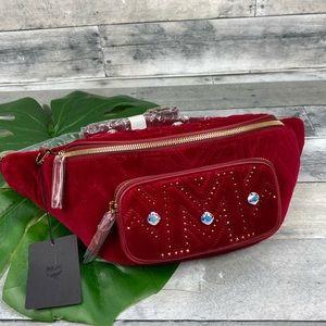 MCM viva red medium belt bag velvet